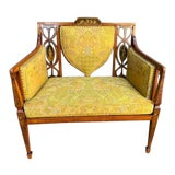 Image of Late 19th C. English Painted Satinwood Settee For Sale