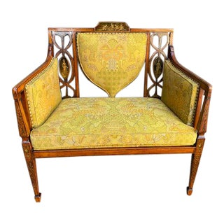 Late 19th C. English Painted Satinwood Settee For Sale