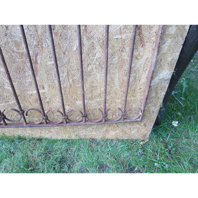 Antique Victorian Iron Gate Window Garden Fence Architectural Salvage Door For Sale - Image 10 of 11