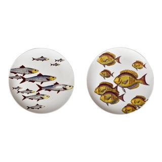 Pair of Rare Piero Fornasetti Fish Plates, Pesci Pattern or Passage of Fish, #1 & 6. Circa 1960s For Sale