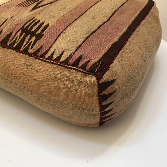 Moroccan Tribal Floor Pillow Seat Cushion Made From a Vintage Berber Rug For Sale - Image 12 of 13
