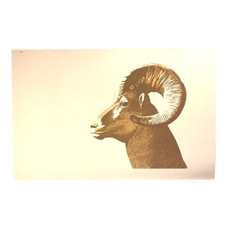 Vintage Ram Silk Screen Print by Lurelle Cheverie For Sale