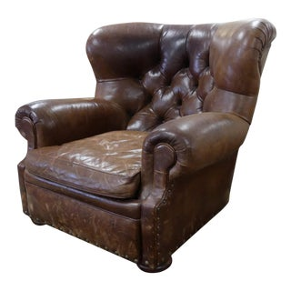 Vintage Ralph Lauren Tufted Leather Writer's Chair or Club Chair For Sale