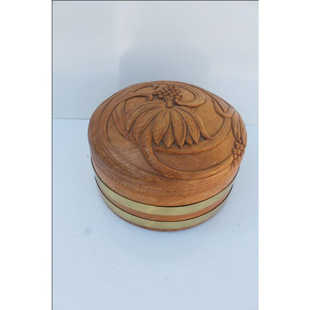 Round Hand-Carved Wood & Brass Box - Image 2 of 8