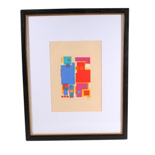 Vintage Fumio Tomita Signed Limited Edition Serigraph of Two Abstract Figures For Sale
