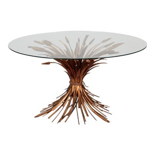 Mid Century Gilded Metal Wheat Sheaf Table For Sale