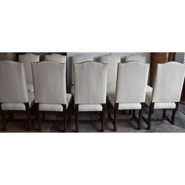 1940s French Provincial Upholstered Os De Mouton Dining Chairs - Set of 10 For Sale - Image 4 of 13