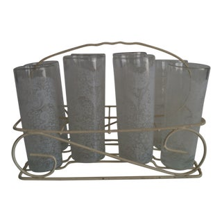 Lace Glasses With Carrying Cart - Set of 7 For Sale