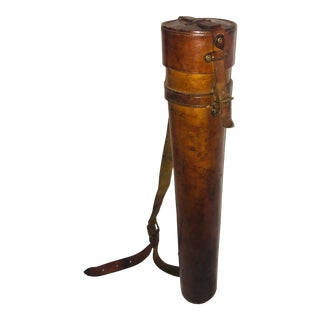Vintage English Leather Map Tube With Strap For Sale