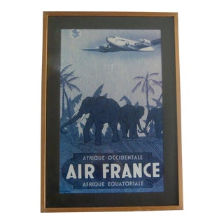 Vintage c.1948 Vincent Guerra Air France Airlines Africa Travel Lithograph Poster For Sale