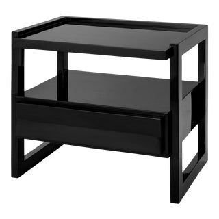 Hudson Nightstand in Licorice Black - Rita Konig for The Lacquer Company For Sale