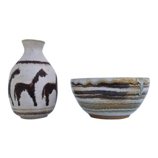 1980s Vintage Studio Art Pottery Bowl and Vase - A Pair For Sale