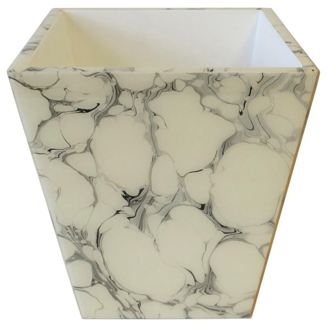 Black and White Marble Style Wastebasket or Trash Can Set For Sale - Image 13 of 13