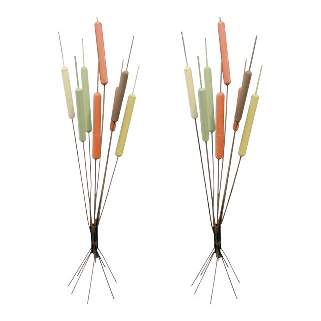 Pair of Mid-century Cat Tail Sculptures For Sale