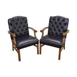 Tufted Leather Chesterfield Chippendale Chairs