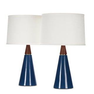 Wyatt Lamp in Niagara Glaze With Walnut Cap - a Pair For Sale
