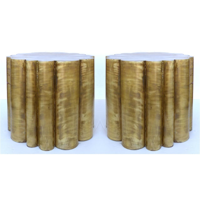 Scalloped Brass Finish Side Tables - a Pair - Image 2 of 11