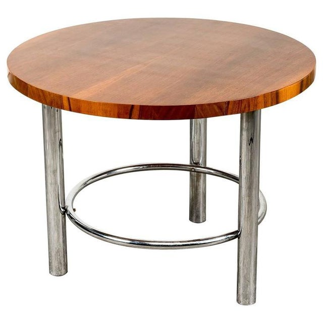 Deco Chrome Coffee Table: Mucke Melder For Thonet Art Deco Walnut Coffee Table