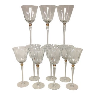 La Scala Gold Accent Tall Water Wine Goblets Set of 10 For Sale