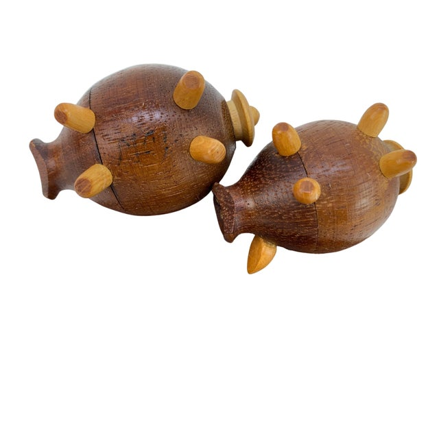 Mid 20th Century Handmade Walnut Pig Salt & Pepper Shakers on Tray For Sale - Image 5 of 9