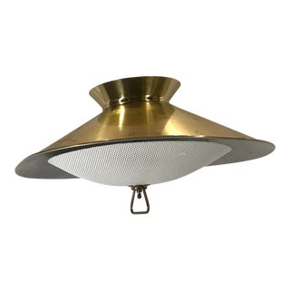 Vintage Mid-Century Space Age Hanging Light With Saucer Top For Sale