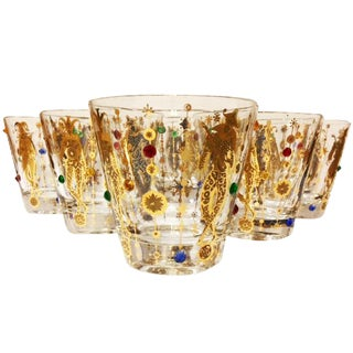 Mid-Century Jeweled Culver Harlequin Jester Glasses - Set of 6