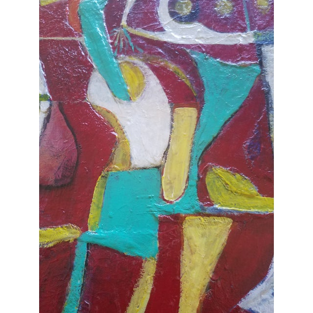 """1980s """"Red Bar"""" Abstract Painting For Sale - Image 4 of 5"""
