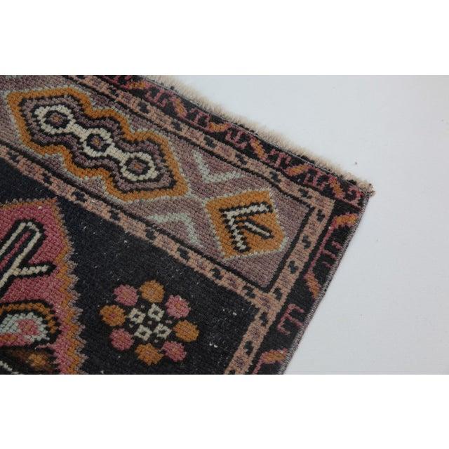 "Orange 1960s Turkish Pure Wool Carpet - 43"" X 21"" For Sale - Image 8 of 11"