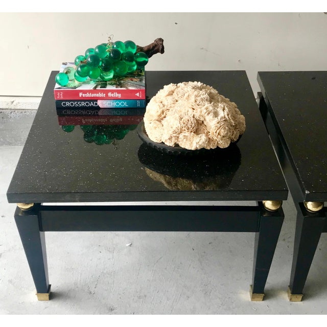 1980s 1980's Art Deco Black Lacquer Side Tables - a Pair For Sale - Image 5 of 9