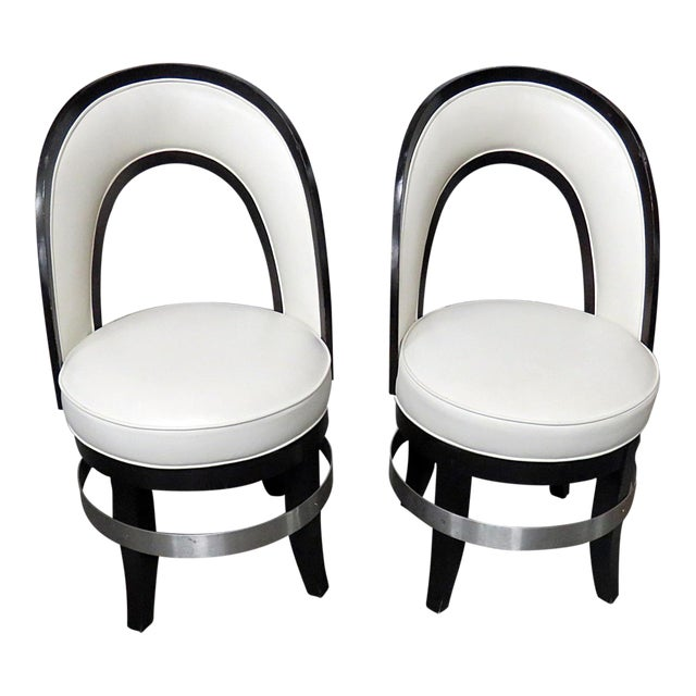 Mid-Century Modern Swiveling Club Chairs - a Pair For Sale