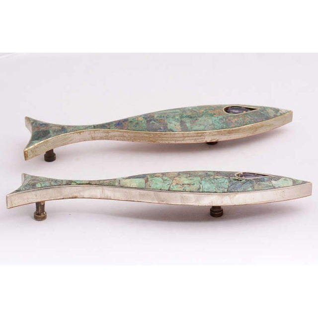 Modern Pair of Modernist Amethyst & Azurite Fish Drawer Handle by Los Castillo For Sale - Image 3 of 10