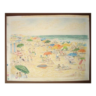 Reynolds Beal Original Signed Color Pencil Seaside Beach Scene Drawing For Sale
