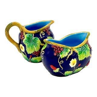 Vintage Late 20th Century Italian Hand-Painted Ceramic Cobalt Blue Creamer & Sugar Bowl Set - 2 Pieces For Sale
