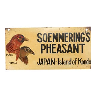 """1930s Hand-Painted """"Soemmering's Pheasant"""" Sign"""