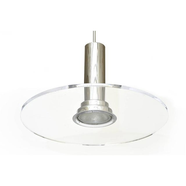 Signed Fredrick Ramond Etched Lucite and Chromed Metal Pendant Light - Image 2 of 9