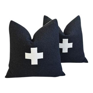 "22"" Custom Tailored Charcoal Appliqué Cross Wool Feather/Down Pillows - a Pair"