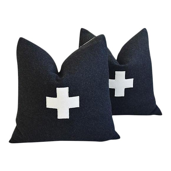 "22"" Custom Tailored Charcoal Appliqué Cross Wool Feather/Down Pillows - a Pair For Sale"