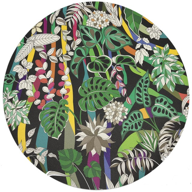 "African Nicolette Mayer Sabi Jungle Black 16"" Round Pebble Placemats, Set of 4 For Sale - Image 3 of 3"