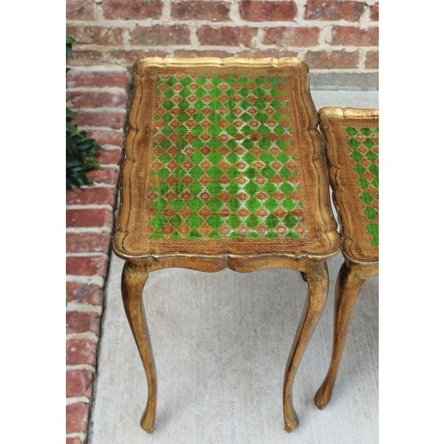 Vintage Italian Gold & Green Tole Nesting Tables Gilt Florentine Set of 3 For Sale In Dallas - Image 6 of 13