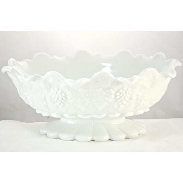"Glass Westmorland 11"" Oval Grape Centerpiece Bowl For Sale - Image 7 of 7"