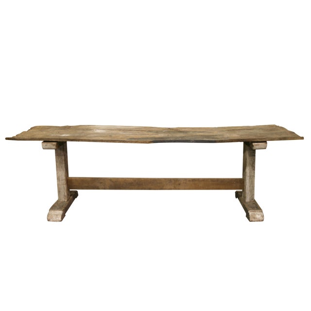 Long Rustic Oak Console or Dining Table For Sale