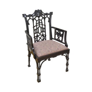 Chinese Chippendale Style Ebonized Black Lacquer Arm Chair