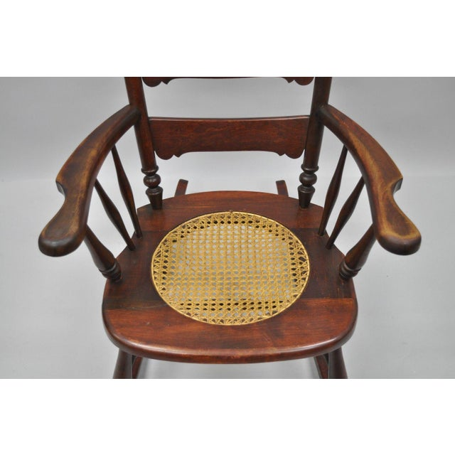 Antique Carved Mahogany Eagle Rocking Chair Rocker Victorian Figural Cane Seat - Image 4 of 12