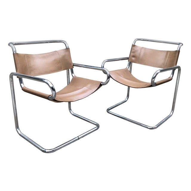 Ralph Rye for Dunbar Leather and Chrome Sling Chairs - a Pair For Sale