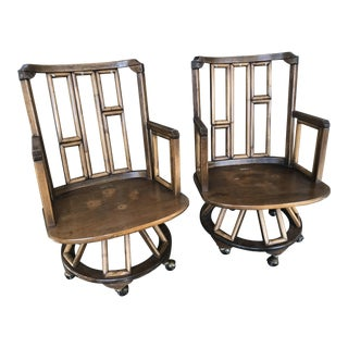 1970s Vintage Ficks Reed Captain's Chairs - a Pair For Sale