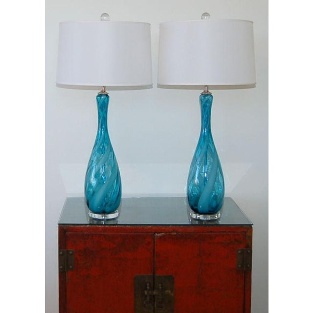 Blown Glass Vintage Venetian Glass Table Lamps Blue White For Sale - Image 7 of 7