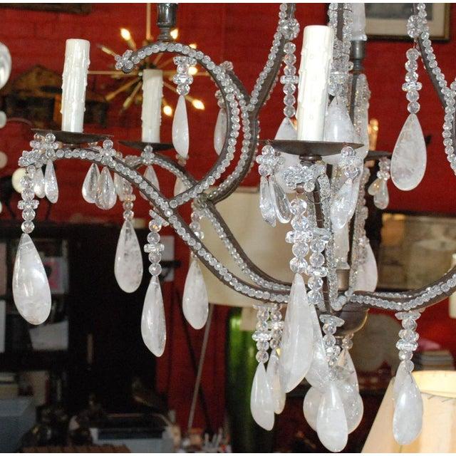 Metal Large Six-Light Rock Crystal Chandelier For Sale - Image 7 of 10