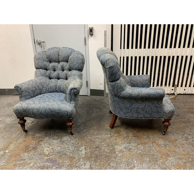Ethan Allen Ethan Allen Redgrave Tufted Arm Chairs - a Pair For Sale - Image 4 of 10