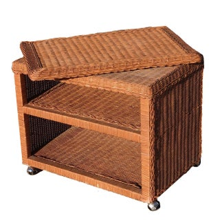1970s Mid Century Wicker Cane Woven 3 Tier Swivel Cart Preview