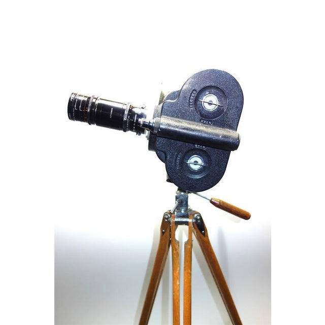 Art Deco Movie Camera Hand Crank Winder Circa 1931 With Wood Tripod. Display As Vintage Sculpture. For Sale - Image 3 of 9